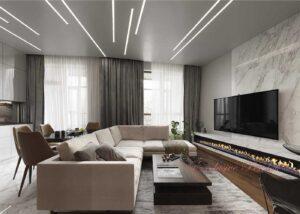 Натяжные потолки фото в Кривом роге световые линии парящие линии