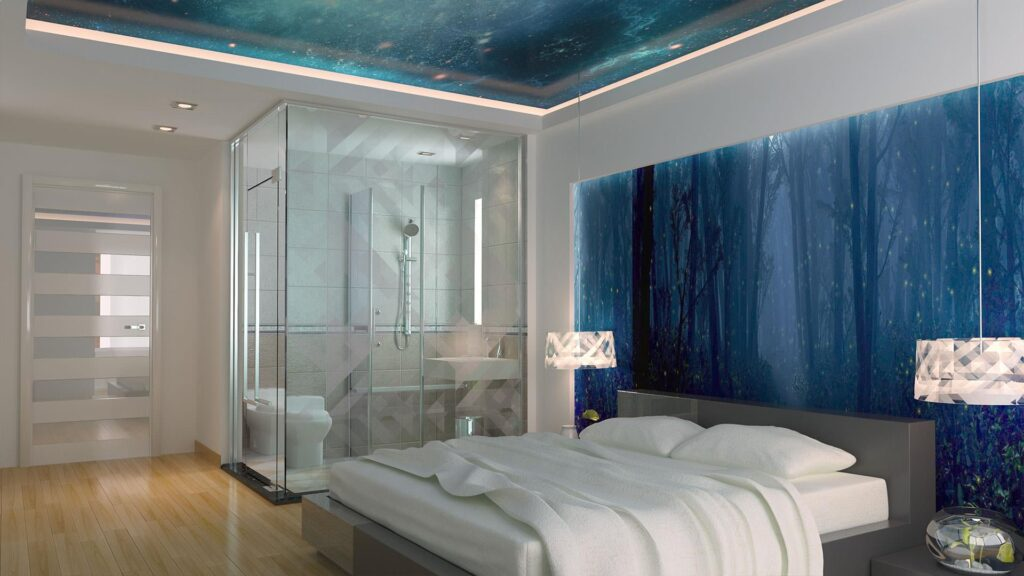 Натяжные потолки в спальне КРивой Рог