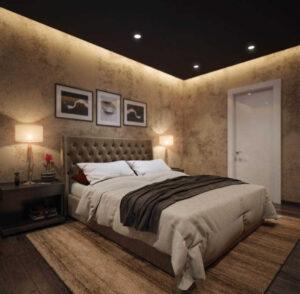 Натяжные потолки в комнате спальне