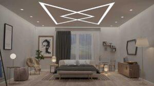 Натяжные потолки в комнате спальне световые линии