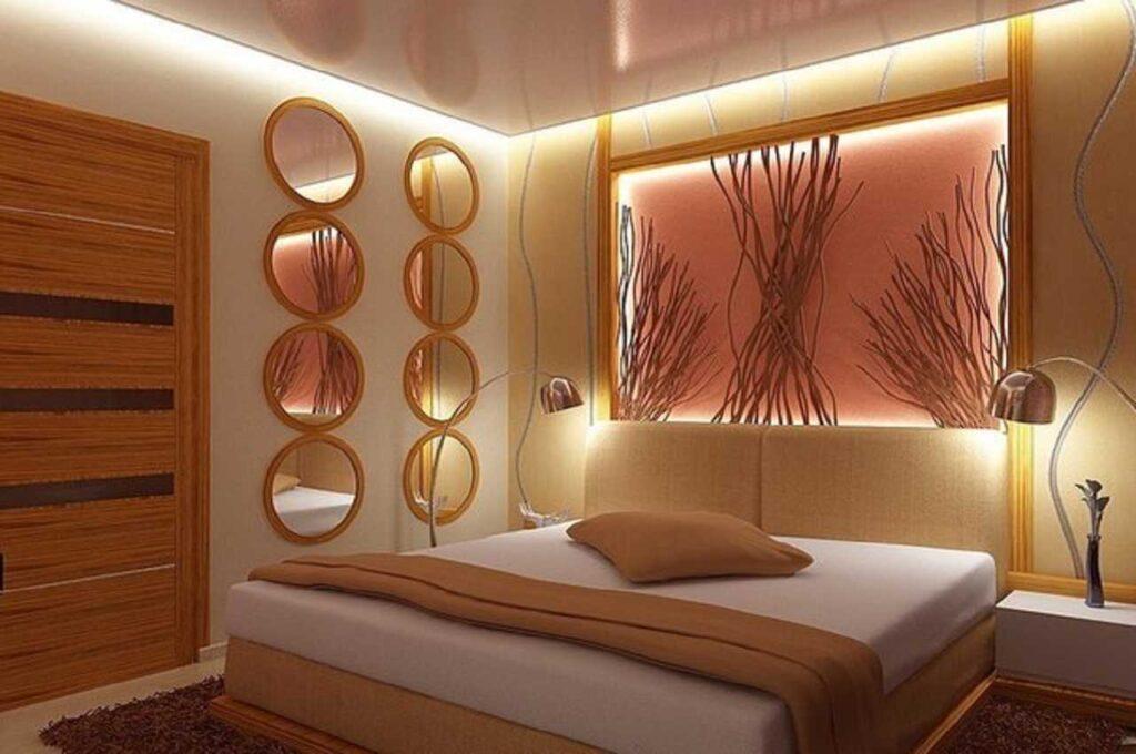 Натяжные потолки в комнате спальне парящие