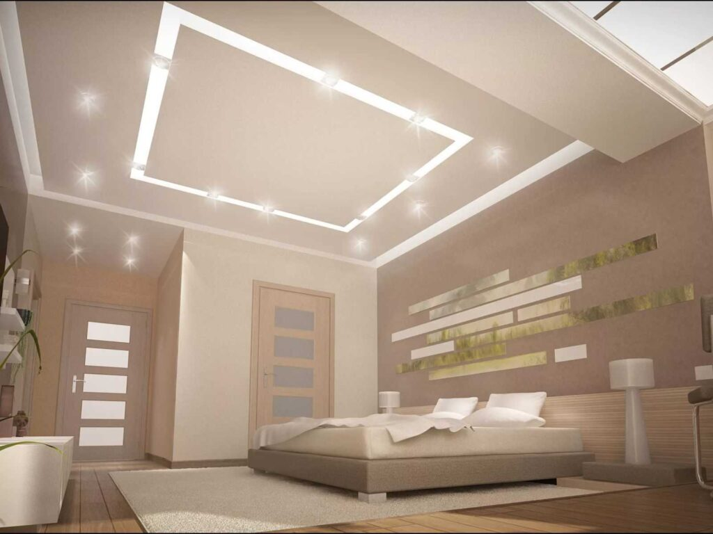 Натяжные потолки в комнате спальне парящие линии