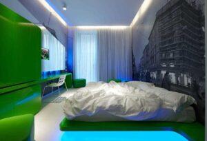 Натяжные потолки в комнате спальне фото