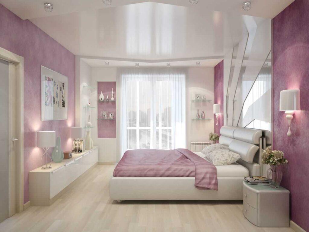 Натяжные потолки в комнате спальне сатиновые