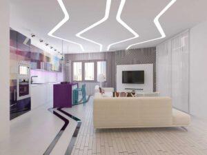 Натяжные потолки в гостиной комнате Кривой Рог световые линии