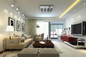 Натяжные потолки в гостиной комнате Кривой Рог сатиновые
