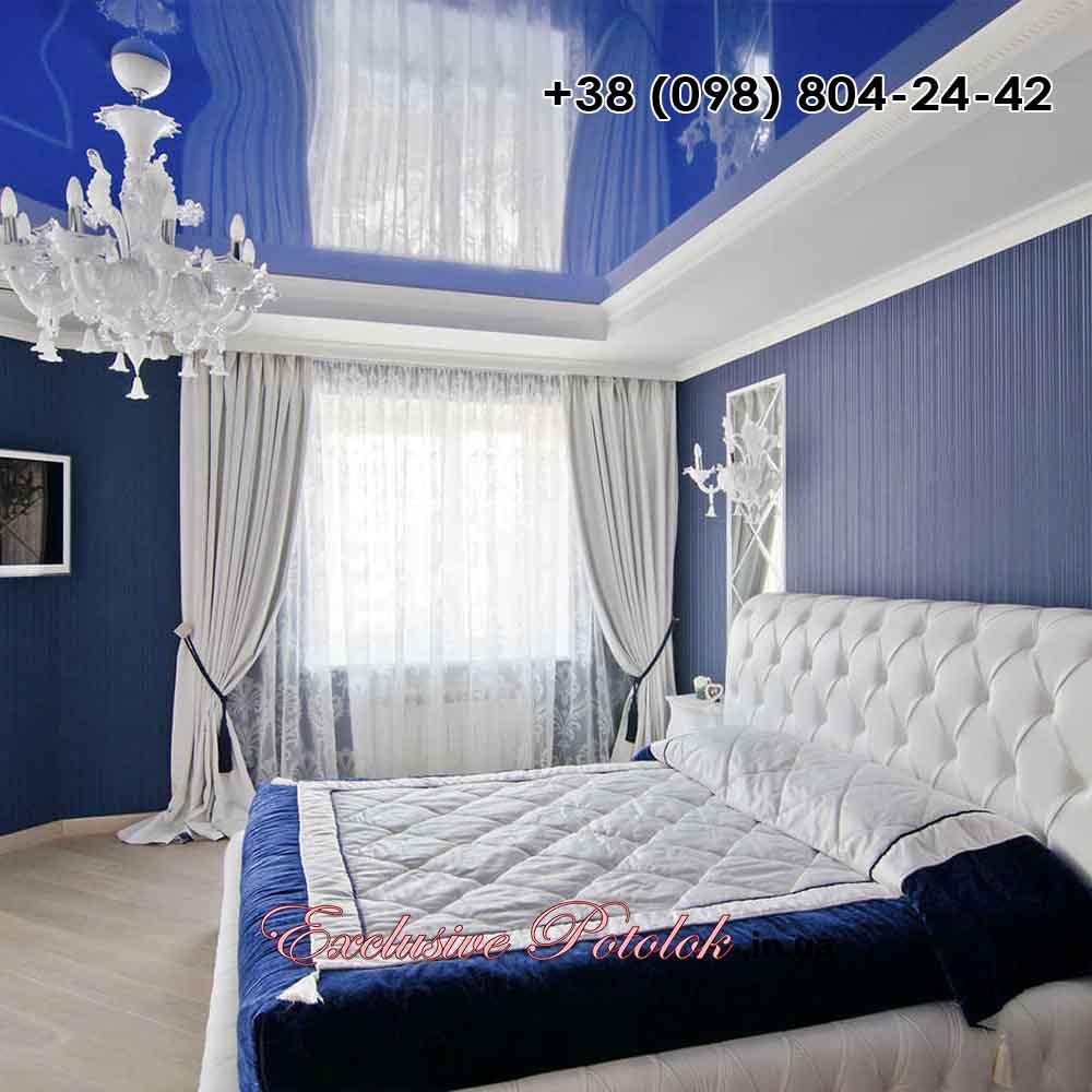 Синие глянцевые натяжные потолки в Апостолово